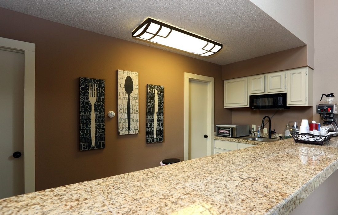 Kitchen Area at the Brittany Square Apartments in Tulsa, OK