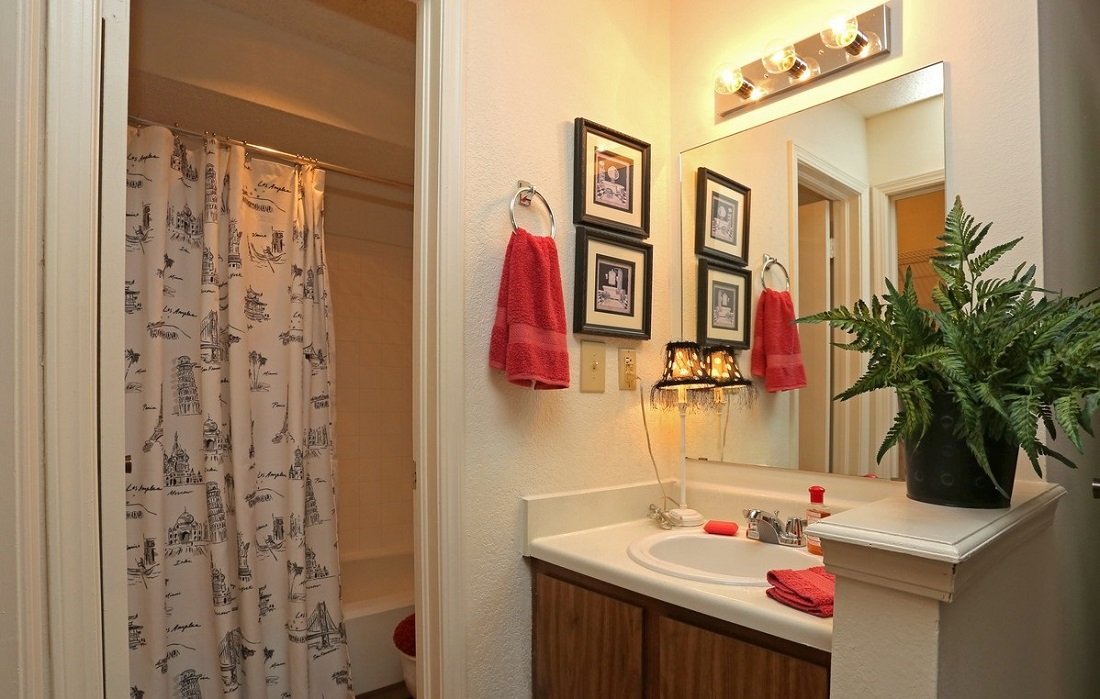 Well-Lit Bathrooms at Brittany Square Apartments in Tulsa, OK