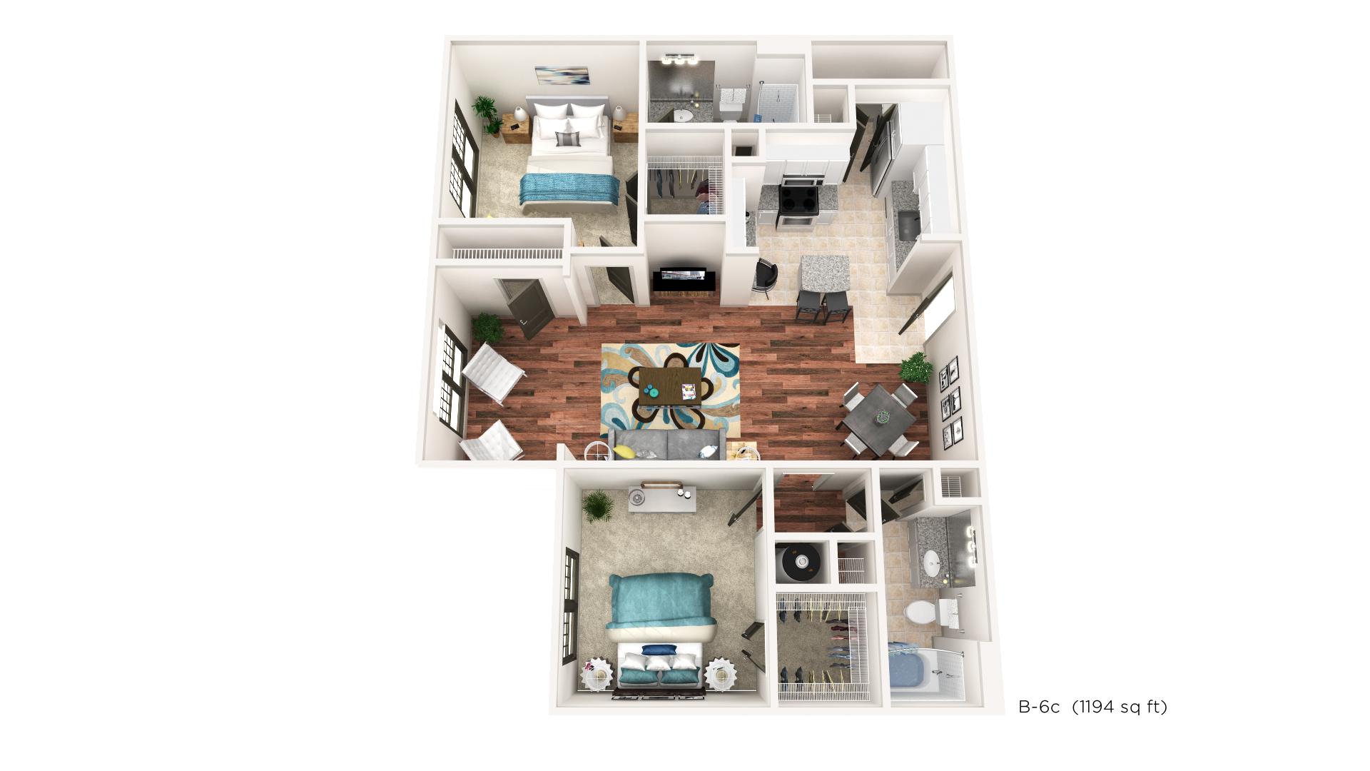 Brookleigh Flats Luxury Apartment Homes - Floorplan - B-6C