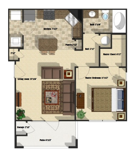 Brookstone Park Apartments - Floorplan - Magnolia