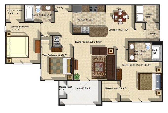 Brookstone Park Apartments - Floorplan - Riverbirch