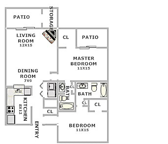 Floorplan - 2 Beds 2 Bath image