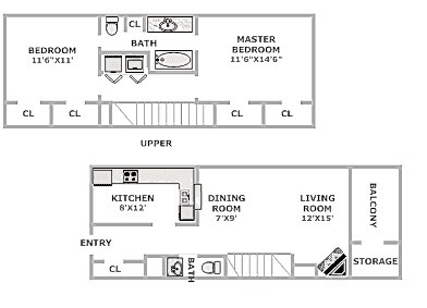 Floorplan - 2 Beds 1.5 Bath image