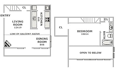 Cadence Apartments - Floorplan - 1 Bed 1 Bath