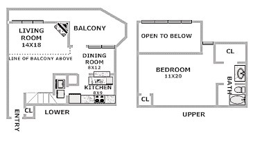 Floorplan - 1 Bed 1 Bath image