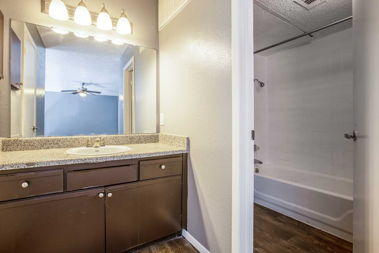 Tub and Shower Room at Cadence Apartments in Dallas, Texas