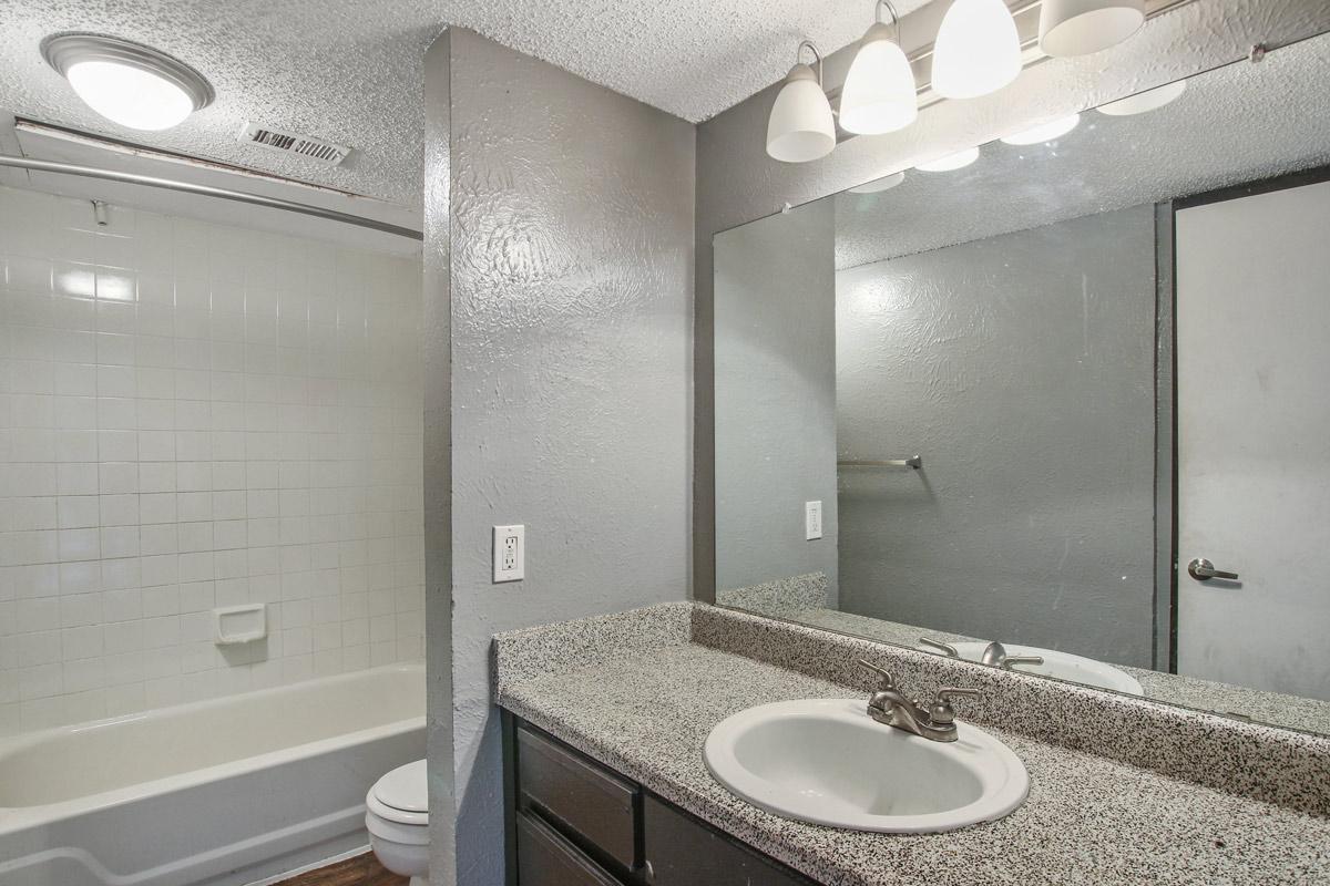 Bathroom at Cadence Apartments in Dallas, Texas