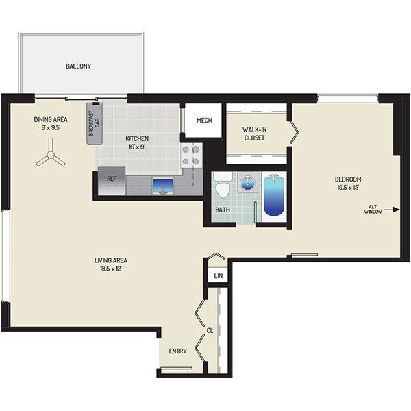 Carrollon Manor Apartments - Floorplan - 1 Bedroom + 1 Bath