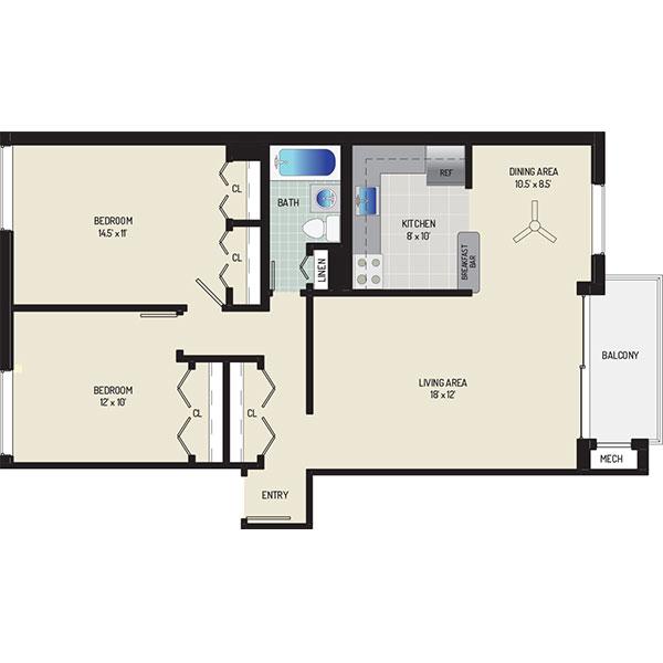 Carrollon Manor Apartments - Floorplan - 2 Bedrooms + 1 Bath