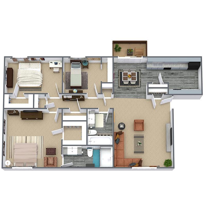 Cedar Creek Apartment Homes - Floorplan - 3 Beds