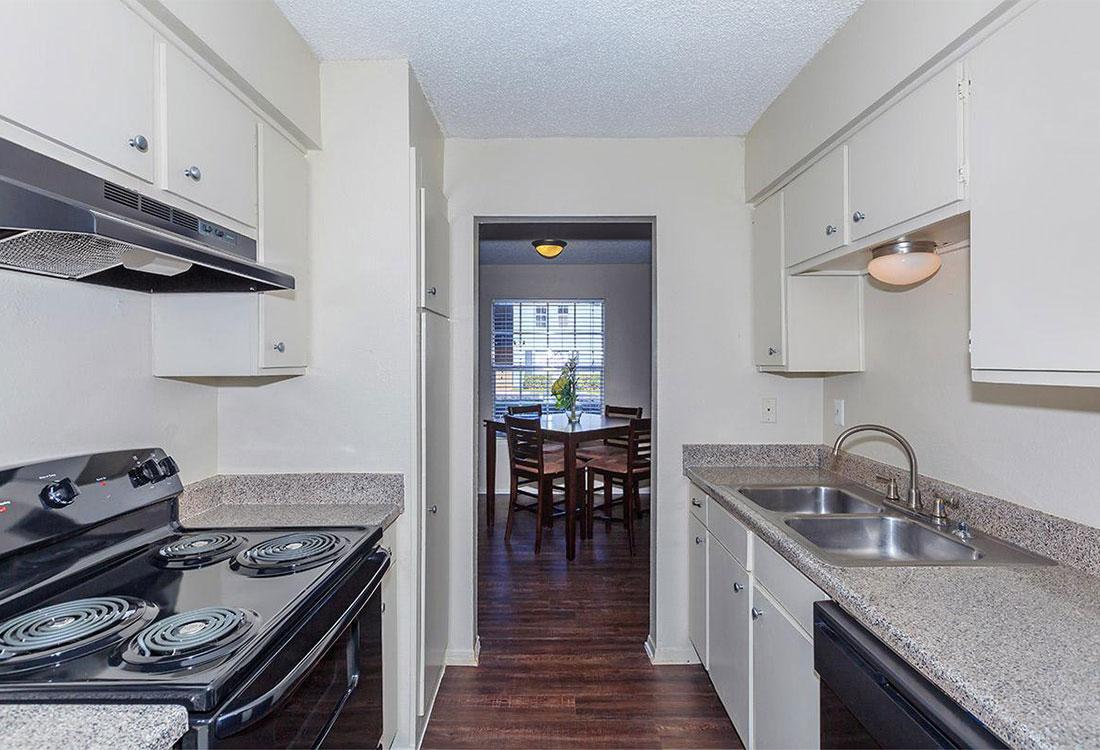 All-Black Kitchen Appliances at Cedar Creek Apartments in Abilene, Texas