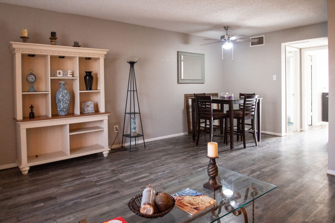 Spacious Living and Dining Spaces at Cedar Creek Apartments in Abilene, Texas
