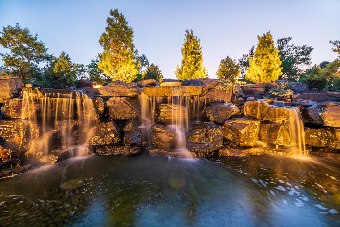 Man-made mini waterfalls at Cedars of Edina Apartments in Edina, MN