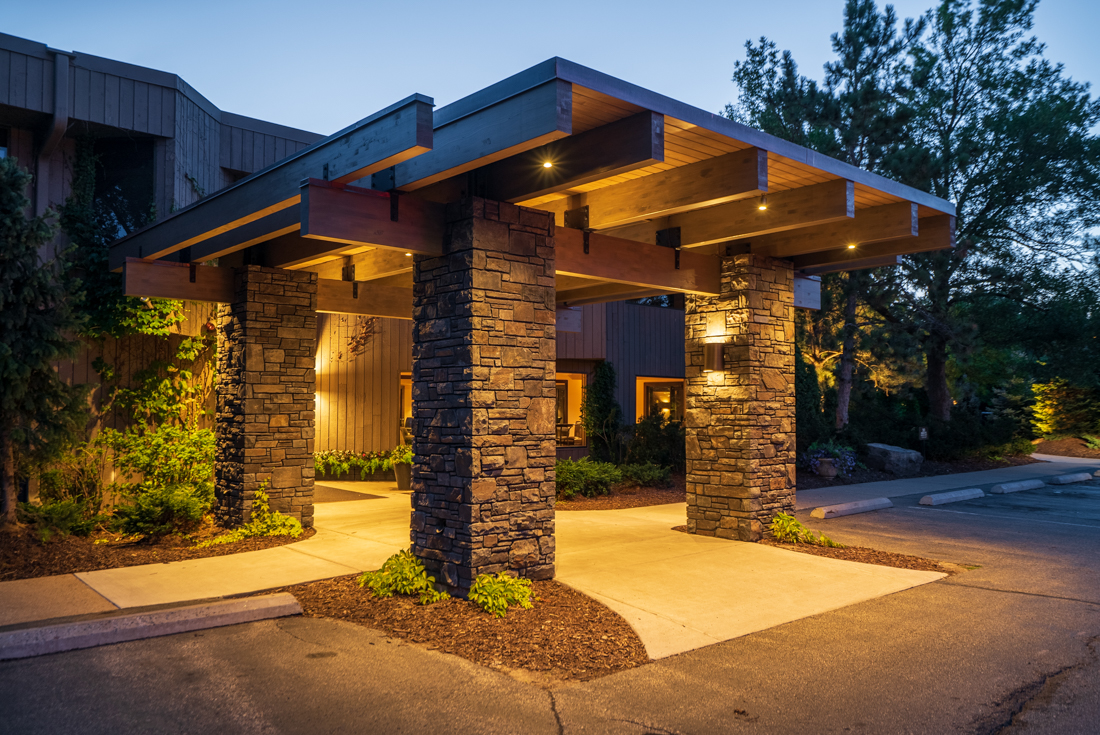 The main entrance at Cedars of Edina Apartments in Edina, MN
