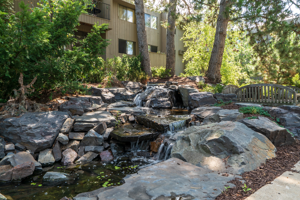 Water Features throughout the wooded acres at Cedars of Edina Apartments in Edina, MN