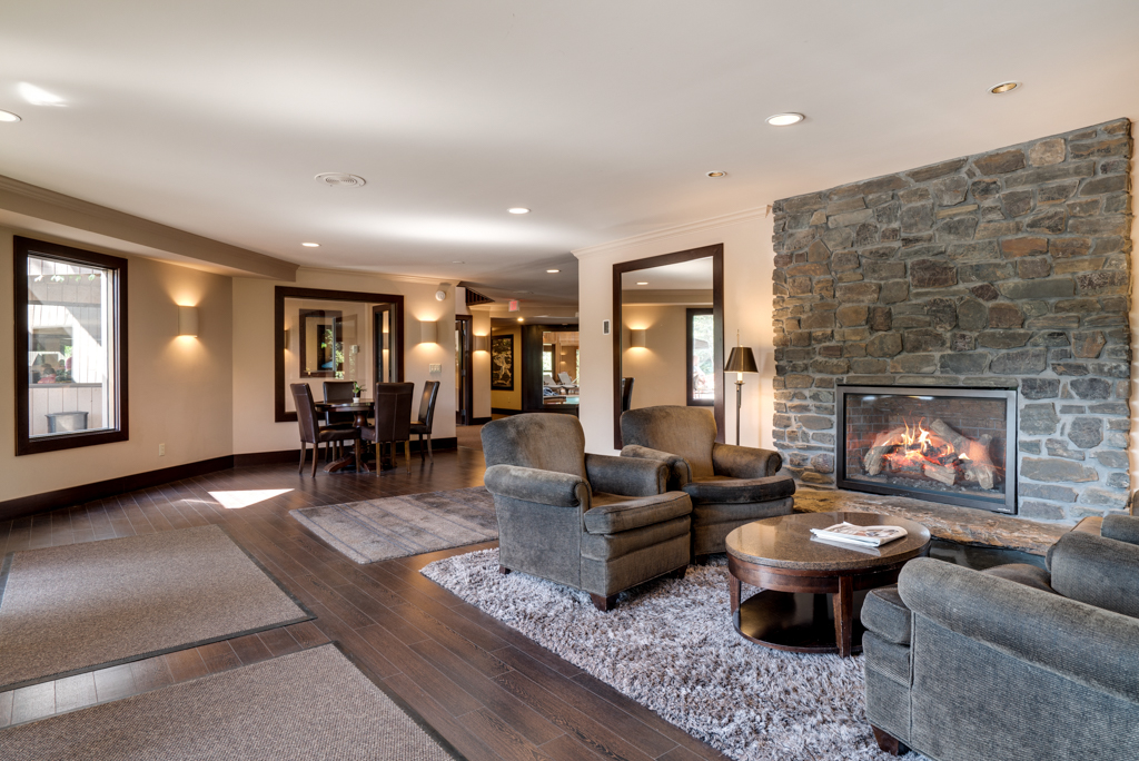 Cozy Fireplace in Community Clubhouse at Cedars of Edina Apartments in Edina, MN