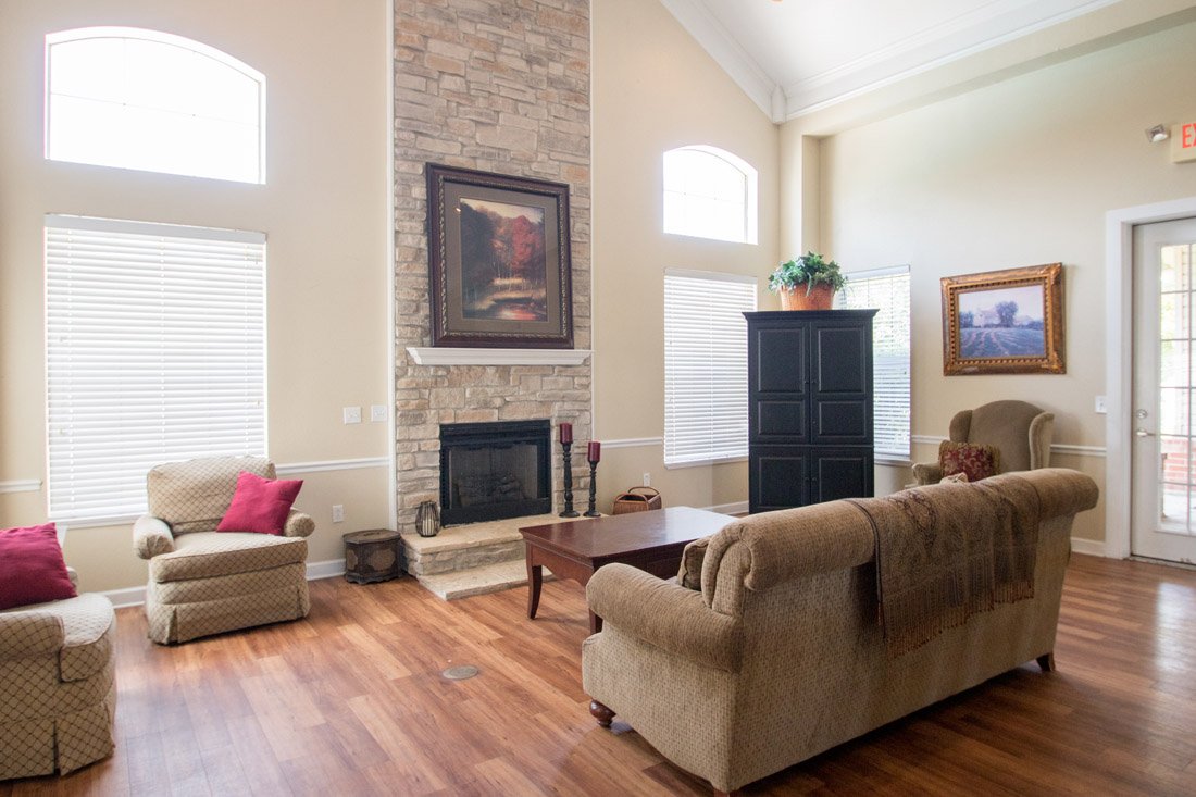 Wood-Burning Fireplace at Chapel Ridge of Johnston Apartments in Johnston, IA