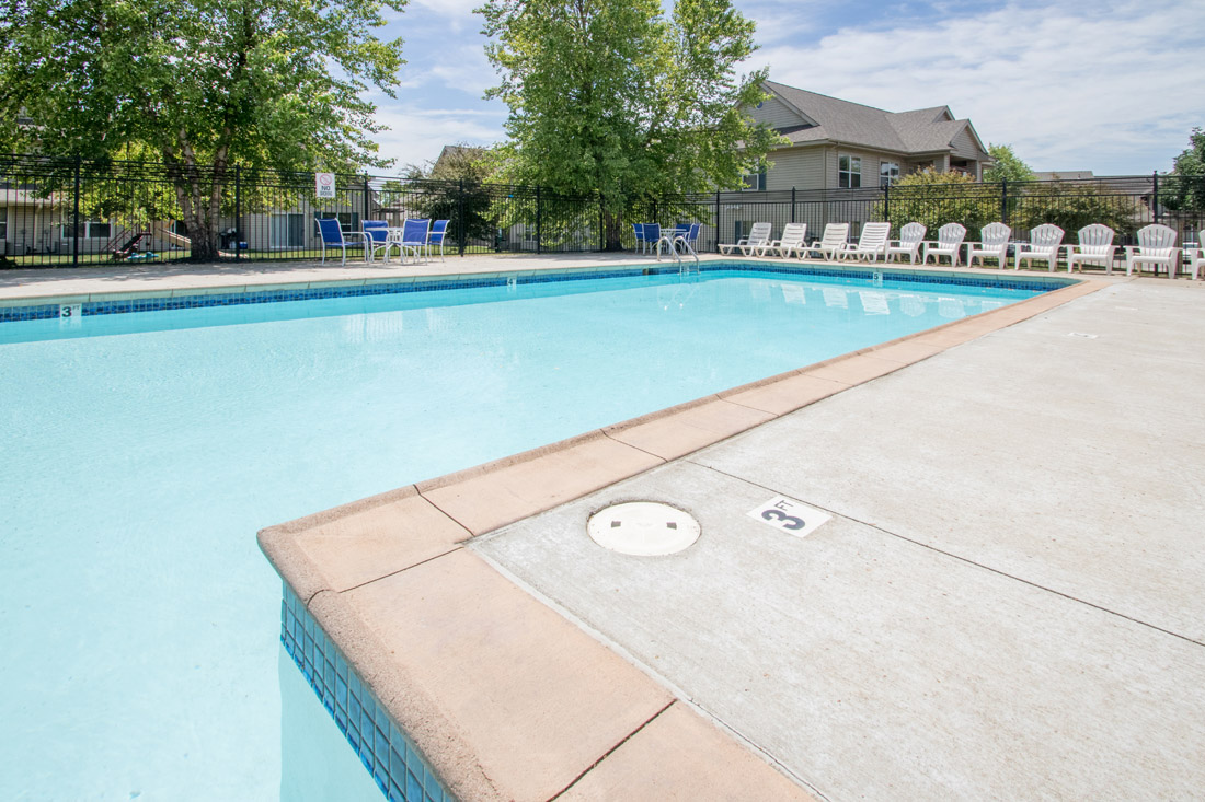 Pool Lounge Area at Chapel Ridge of Johnston Apartments in Johnston, IA