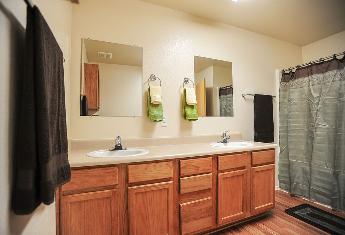 Double Sink Vanities at Chapel Ridge of Council Bluffs Apartments in Council Bluffs, IA