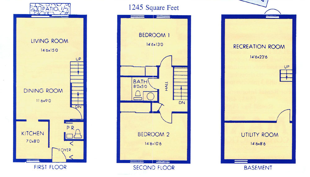 Chartwell Townhouse Apartments - Floorplan - 2 Bedroom