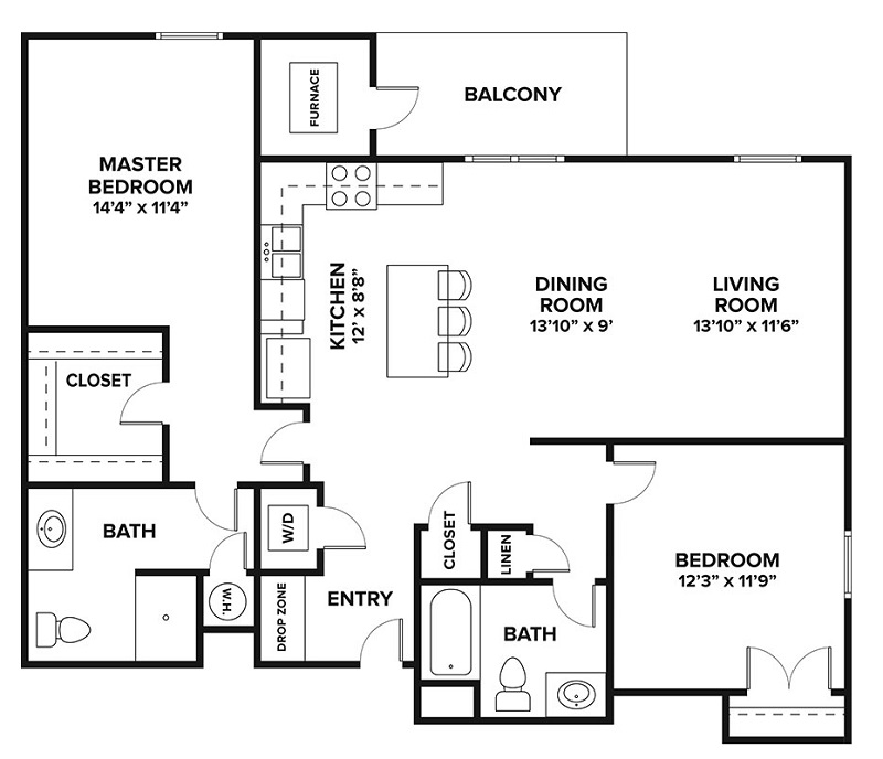 Château at Hillsborough - FloorPlan - Two Bedroom