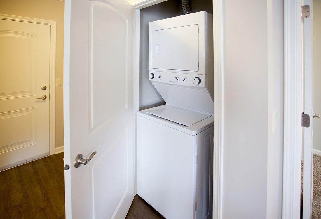 Stackable Washer and Dryer at Chateau at Hillsborough Apartments in Omaha, NE