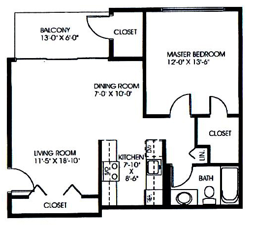 Floorplan - 1 Bedroom  - A image