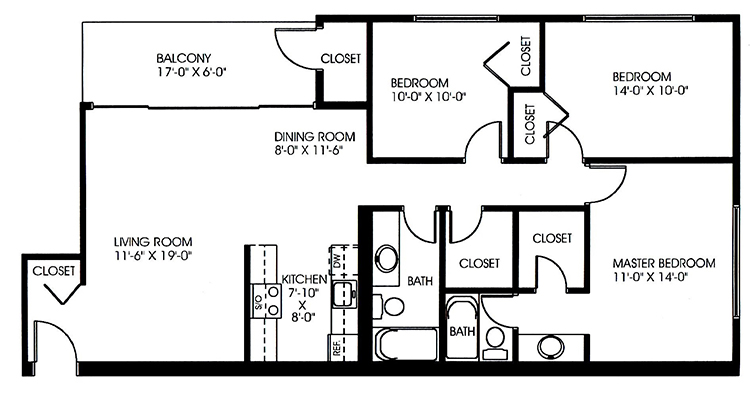 Chelsea Park Apartments - Floorplan - 3 Bedroom