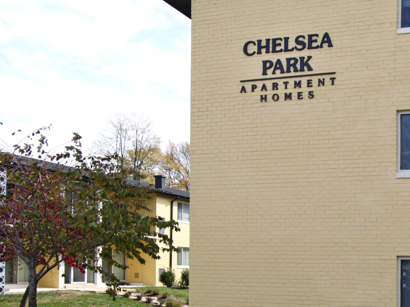 Property Sign at the Chelsea Park Apartments in Gaithersburg, MD