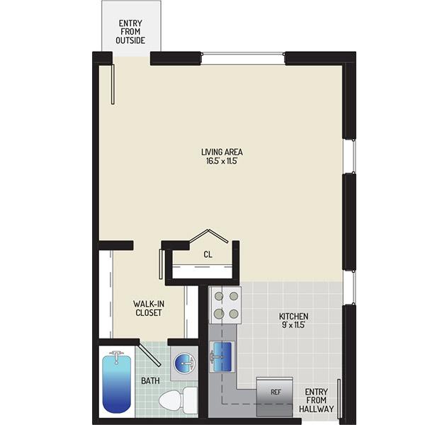 Chestnut Hill Apartments - Floorplan - Studio