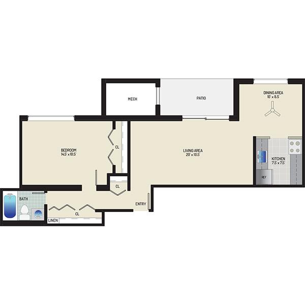 Chestnut Hill Apartments - Floorplan - 1 Bedroom + 1 Bath