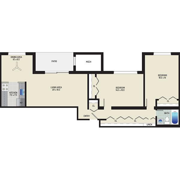 Chestnut Hill Apartments - Floorplan - 2 Bedrooms + 1 Bath
