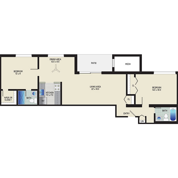 Chestnut Hill Apartments - Floorplan - 2 Bedrooms + 2 Baths