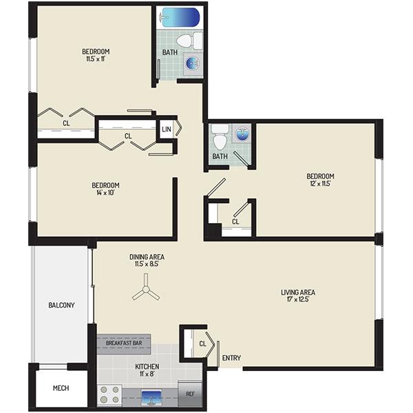 Chestnut Hill Apartments - Floorplan - 3 Bedrooms + 1.5 Baths