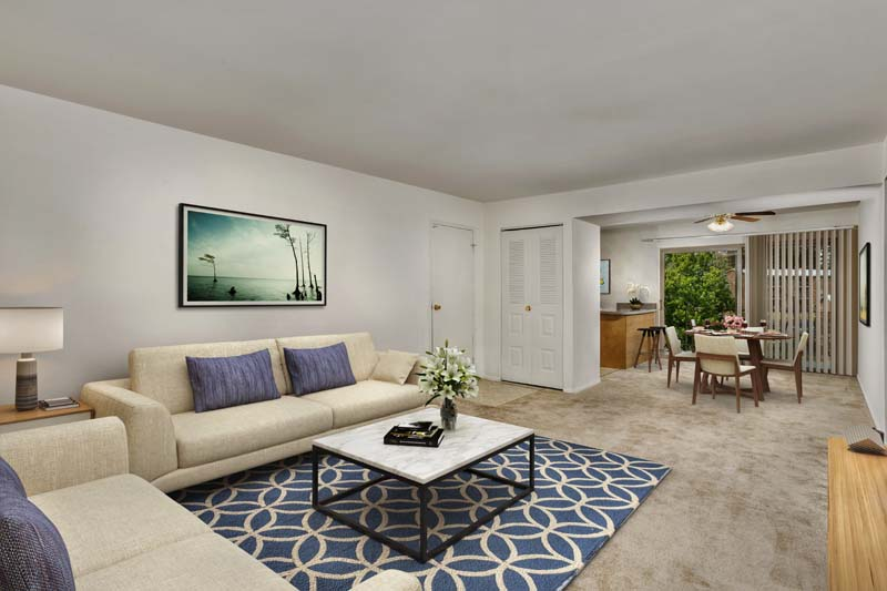 Spacious living and dining area at Chestnut Hill Apartments in Temple Hills. MD