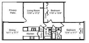 The Citadel - Floorplan - 2 BR 2 Bath 1050