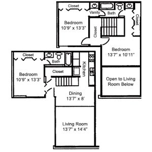 Floorplan - 3 BR 2 Bath 1200 image