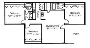 Floorplan - 3 BR 2 Bath 1300 image
