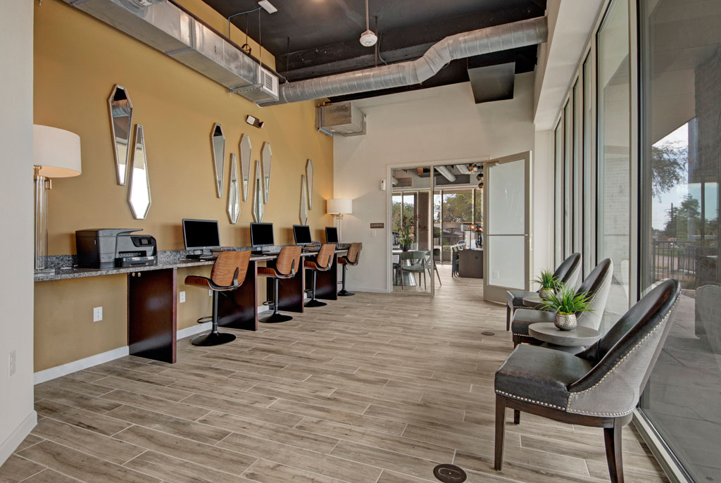 Office Area at City Square Lofts Apartments in Garland, TX