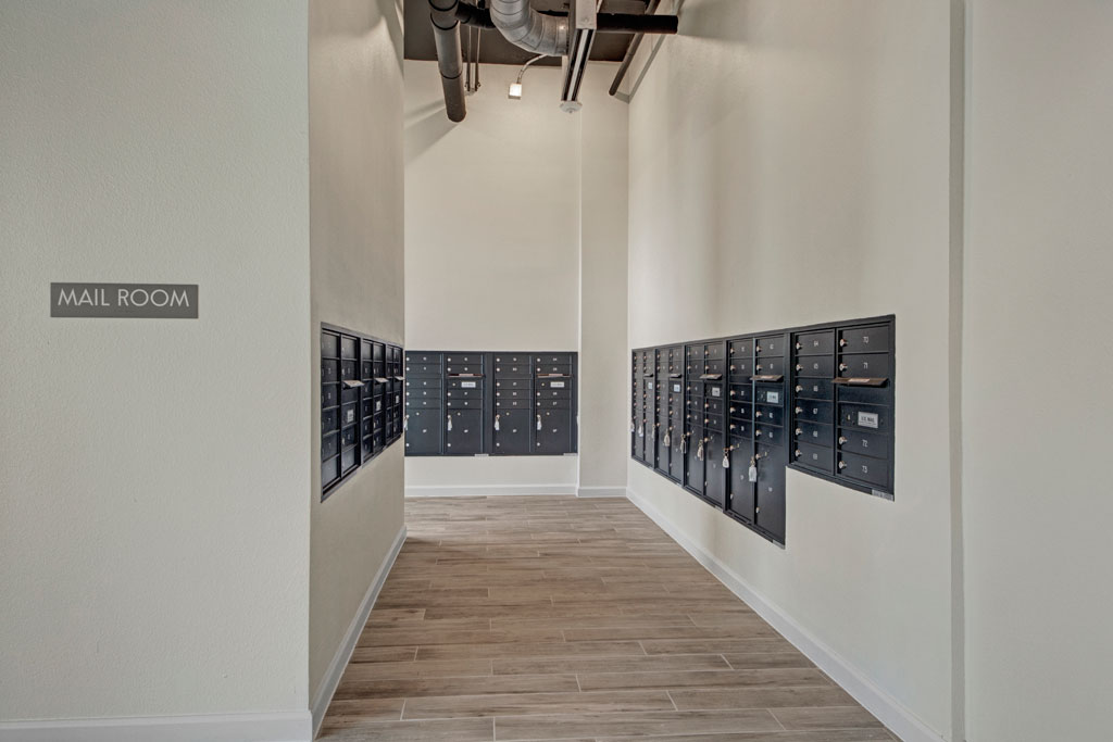 Mail Room at City Square Lofts Apartments in Garland, TX