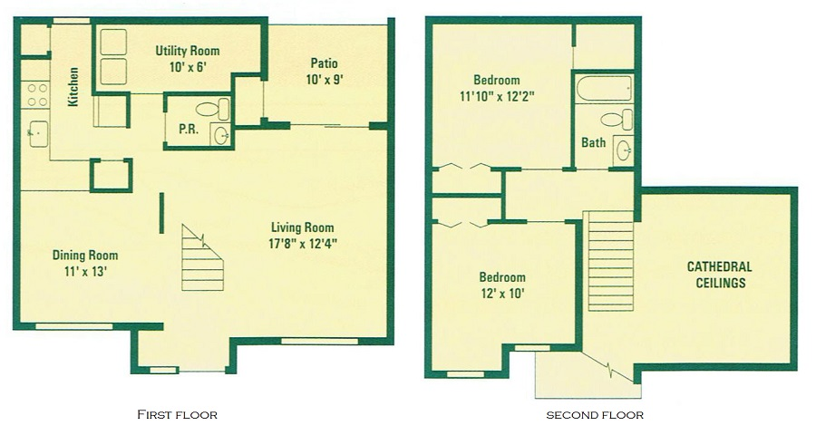 Clearview Farms Apartments and Townhouses - Floorplan - Deluxe Two Bedroom Townhouse