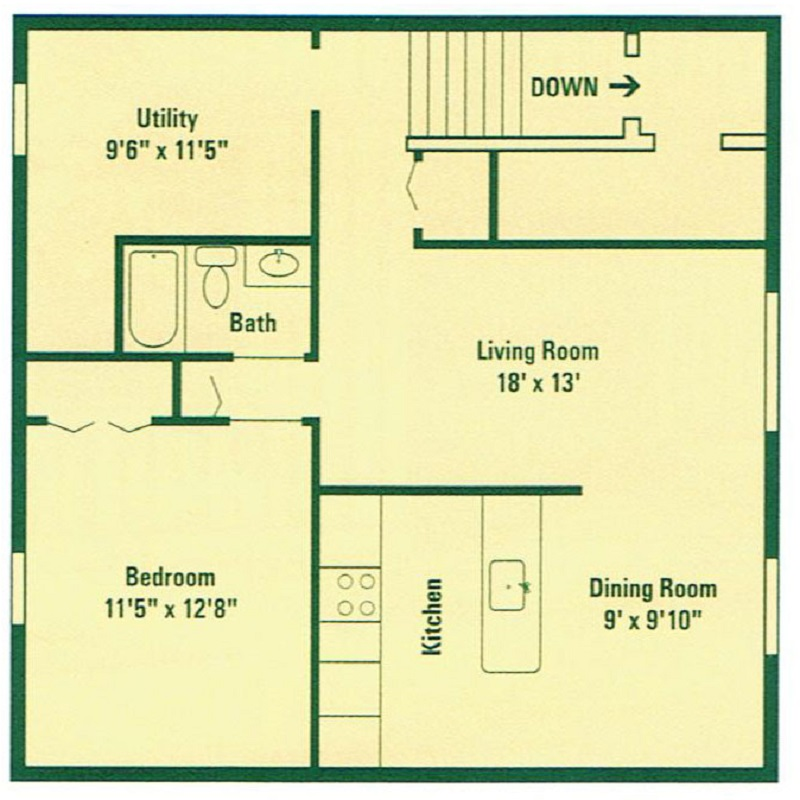 Clearview Farms Apartments and Townhouses - Floorplan - Deluxe One Bedroom Apartment