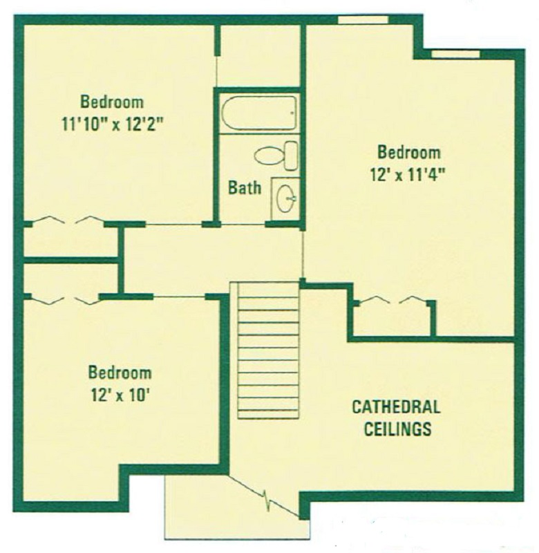 Clearview Farms Apartments & Townhouses - Floorplan - Deluxe Three Bedroom Townhouse