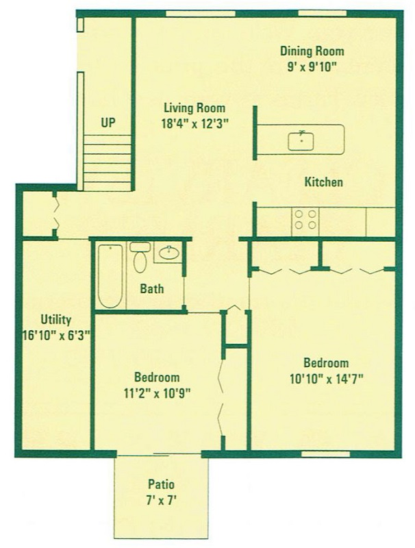 Clearview Farms Apartments and Townhouses - Floorplan - Deluxe Two Bedroom Apartment