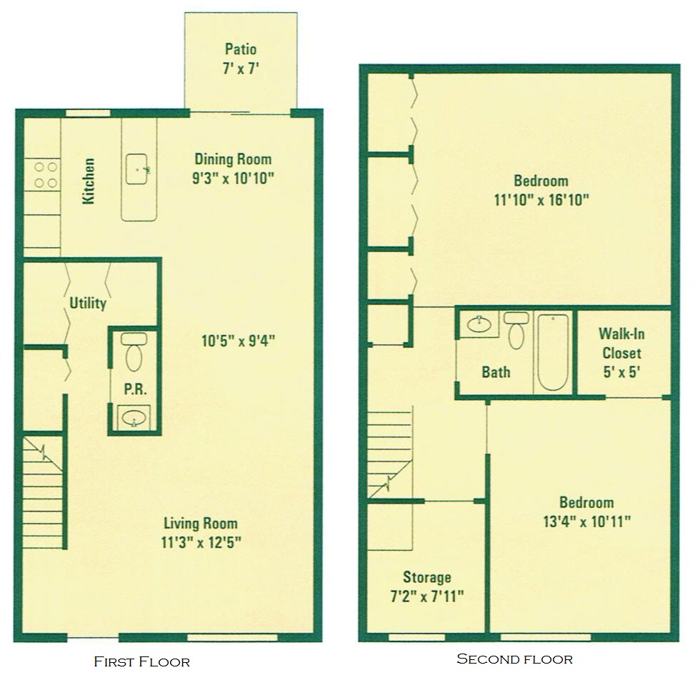 Clearview Farms Apartments and Townhouses - Floorplan - Typical Two Bedroom Townhouse