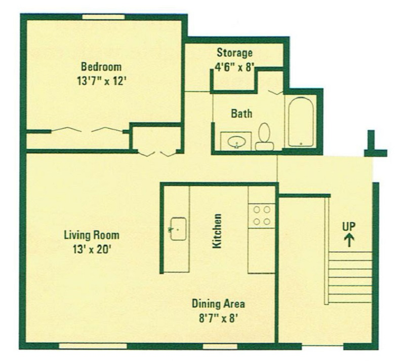 Floorplan - Typical One Bedroom Apartment   image