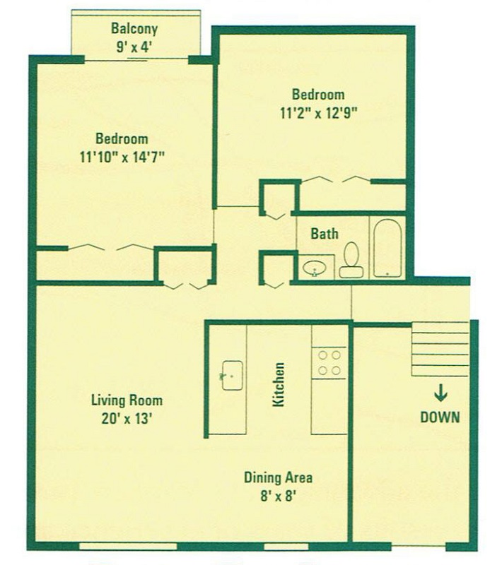 Clearview Farms Apartments and Townhouses - Floorplan - Typical Two Bedroom Apartment