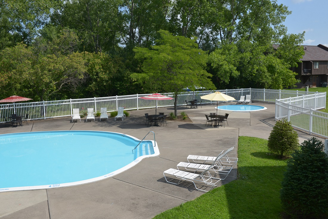 Sparkling Pool at the Clearview Farms Apartments and Townhouses in Scottsville, NY