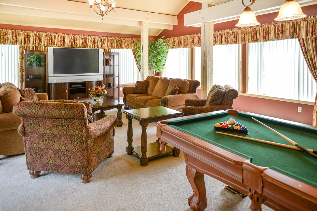 Gameroom at the Clearview Farms Apartments and Townhouses in Scottsville, NY