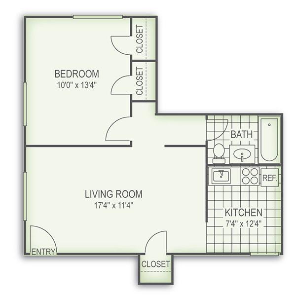 Floorplan - 1 Bed image